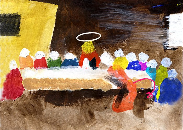 Jesus Greeting Card featuring the mixed media Last Supper W-judas by Curtis J Neeley Jr