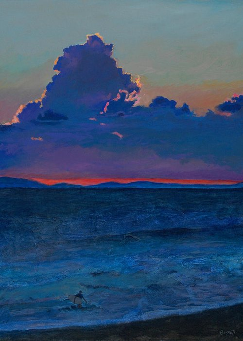 Surf Greeting Card featuring the painting Last Wave by Robert Bissett