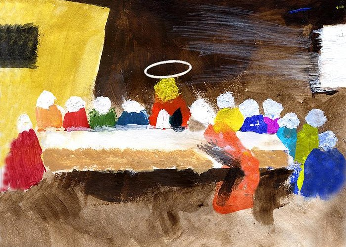 Jesus Greeting Card featuring the mixed media Lastsupper by Curtis J Neeley Jr