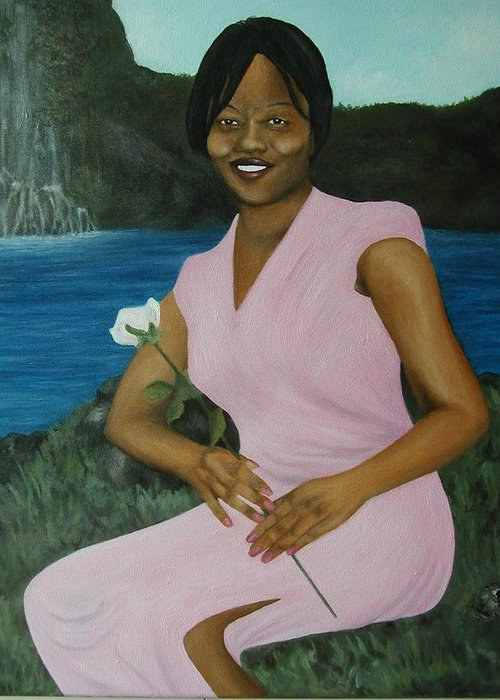 Portrait Greeting Card featuring the painting Latasha by Angelo Thomas