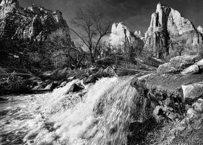 Mountains Greeting Card featuring the photograph Late Afternoon At The Court Of The Patriarchs - Bw by Christopher Holmes