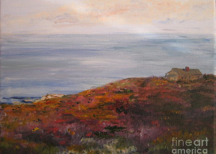 Landscape Greeting Card featuring the painting Late Afternoon On Rockport Seaside In Autumn by Kayla Race