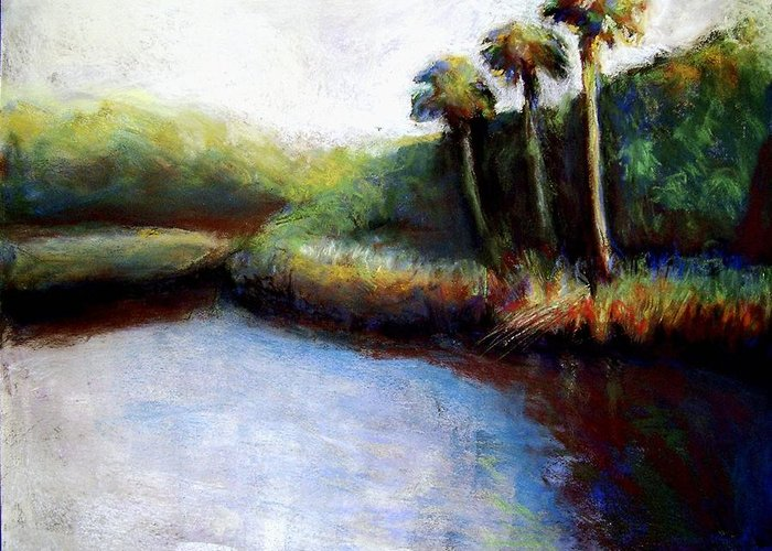 Landscape Greeting Card featuring the painting Late Afternoon On Spruce Creek by Hillary Gross