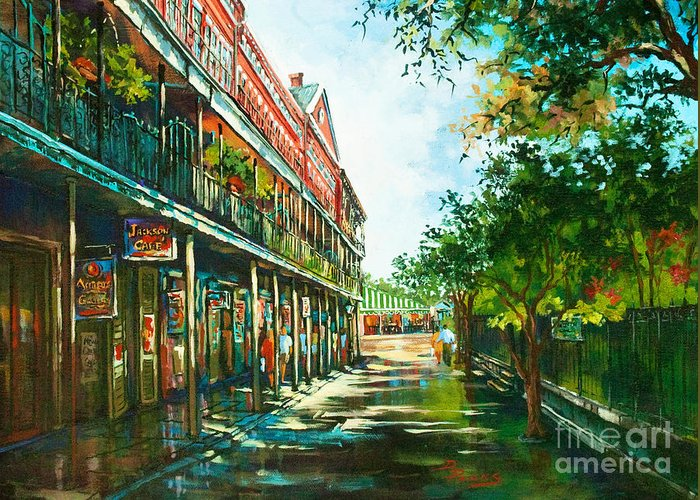 New Orleans Art Greeting Card featuring the painting Late Afternoon On The Square by Dianne Parks