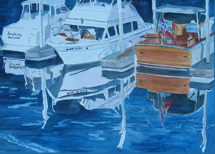 Boats Greeting Card featuring the painting Late Afternoon Reflections by Jenny Armitage