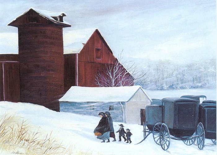 Amish;barn;buggies;winter;snow; Greeting Card featuring the print Late Arrivals by Lois Mountz