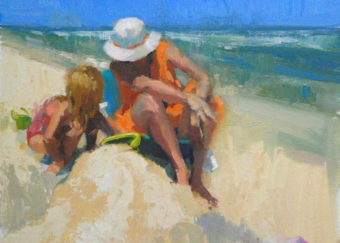 Beach Greeting Card featuring the painting Late Morning by Nancy Tankersley