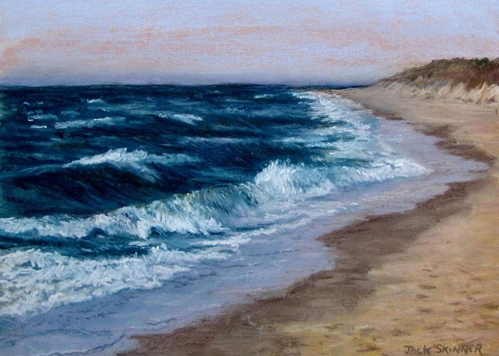 Ocean Greeting Card featuring the painting Late Spring At Cold Storage Beach by Jack Skinner