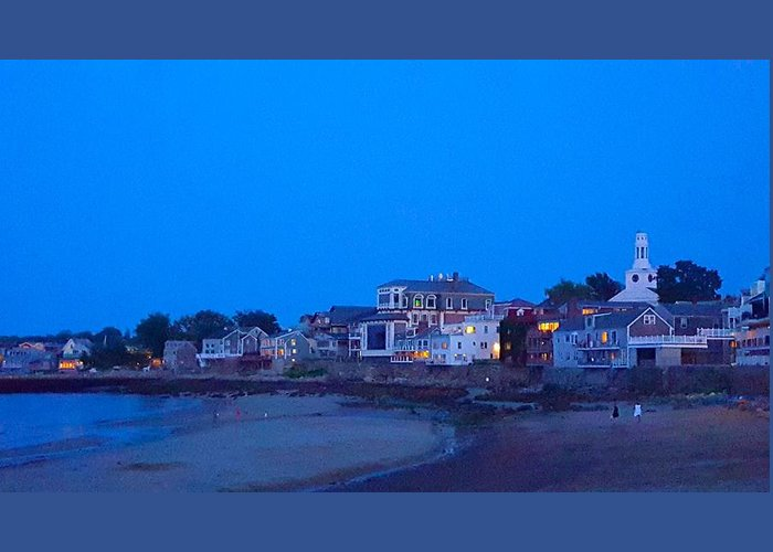 Blue Night Sky Greeting Card featuring the photograph Late Summer Rockport Twilight by Harriet Harding