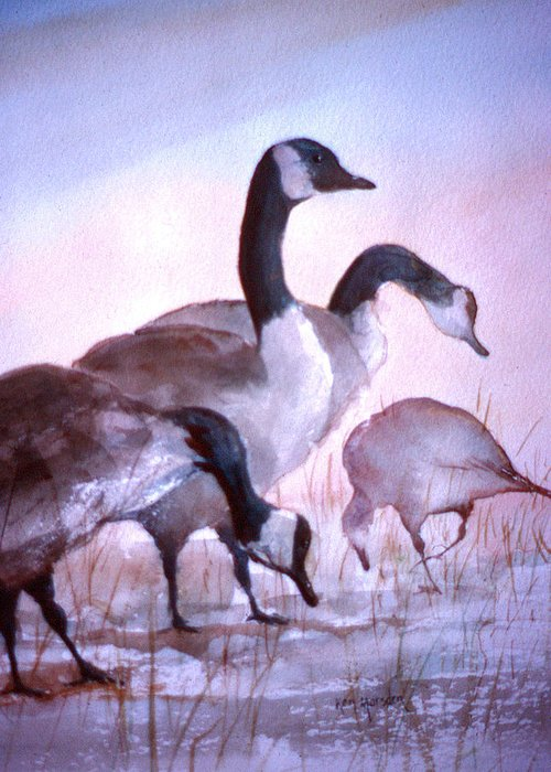 Geese Greeting Card featuring the painting Late Supper by Ken Marsden