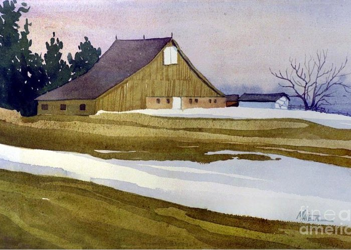 New Jersey Greeting Card featuring the painting Late Winter Melt by Donald Maier