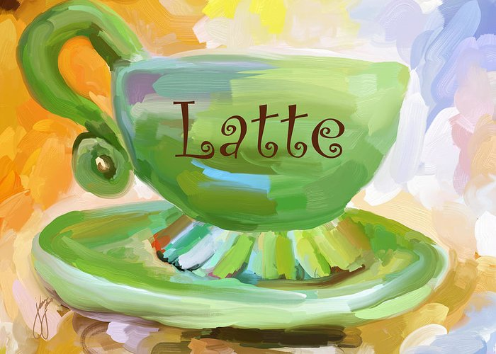 Coffee Greeting Card featuring the painting Latte Coffee Cup by Jai Johnson