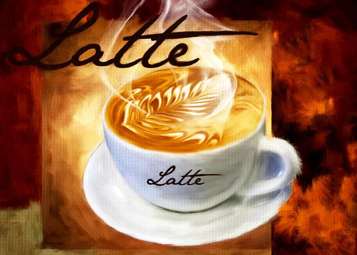 Coffee Greeting Card featuring the digital art Latte by Lourry Legarde