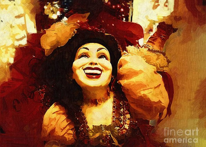 Gypsy Greeting Card featuring the painting Laughing Gypsy by Deborah MacQuarrie-Selib