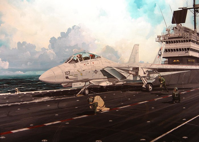 Military Greeting Card featuring the painting Launch The Alert 5 by Marc Stewart
