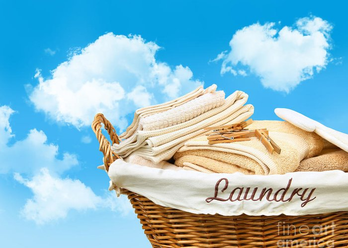 Basket Greeting Card featuring the photograph Laundry Basket Against A Blue Sky by Sandra Cunningham