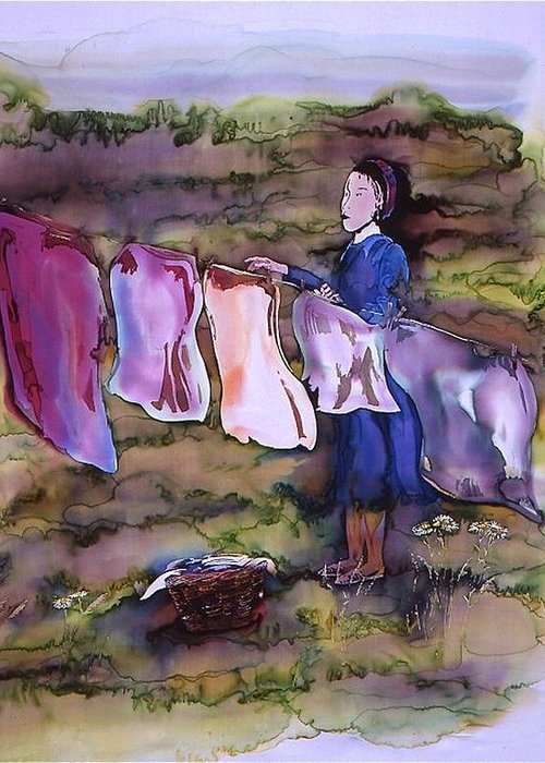 Batik Greeting Card featuring the tapestry - textile Laundry Day by Carolyn Doe