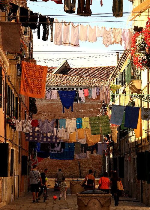 Venice Greeting Card featuring the photograph Laundry Day In Venice by Michael Henderson