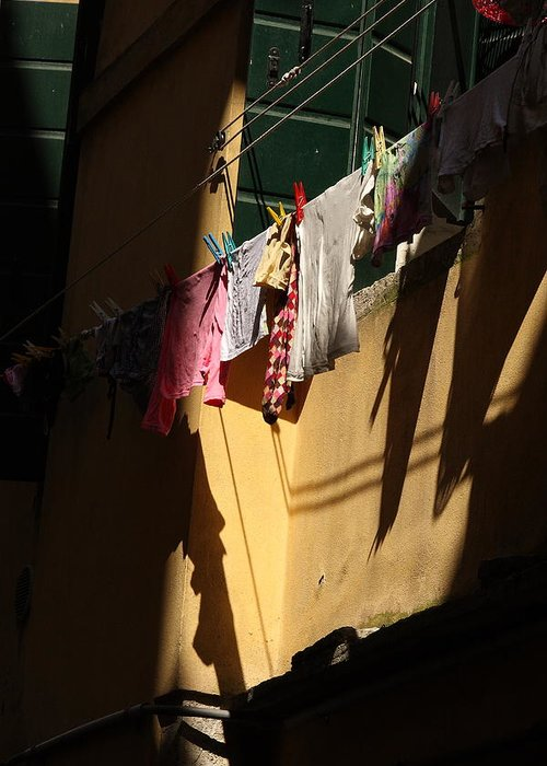 Greeting Card featuring the photograph Laundry In The Sun In Venice by Michael Henderson