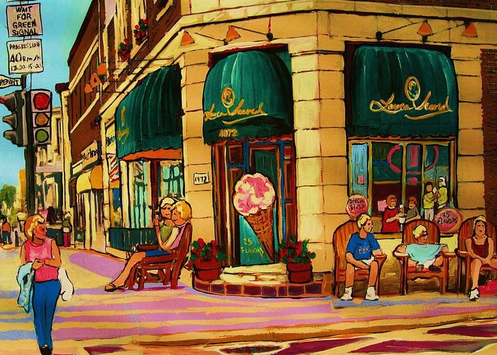 Montreal Streetscenes Greeting Card featuring the painting Laura Secord Candy And Cone Shop by Carole Spandau