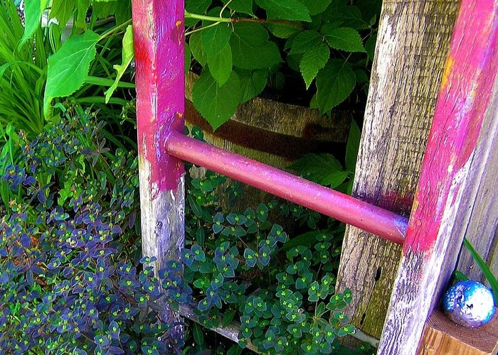 Garden Ladder Greeting Card featuring the photograph Laura's Ladder by Jen White