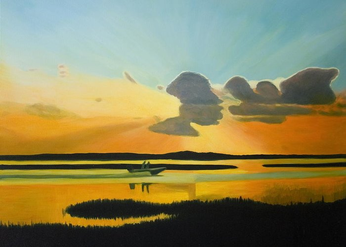 Seascape Greeting Card featuring the painting Laura's Sunset by Stephen Degan