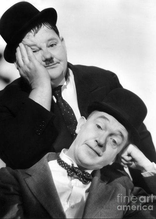 1939 Greeting Card featuring the photograph Laurel And Hardy, 1939 by Granger