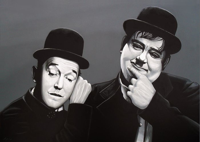 Laurel And Hardy Greeting Card featuring the painting Laurel And Hardy by Paul Meijering