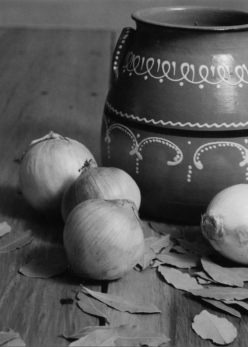Cooking Greeting Card featuring the photograph Laurel And Onions by Henry Krauzyk