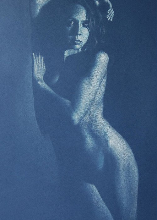 Nude Greeting Card featuring the drawing Lauren In Blue by Alan Stevens
