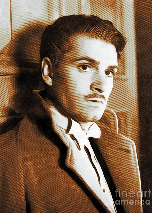 Laurence Greeting Card featuring the painting Laurence Olivier, Movie Legend by John Springfield