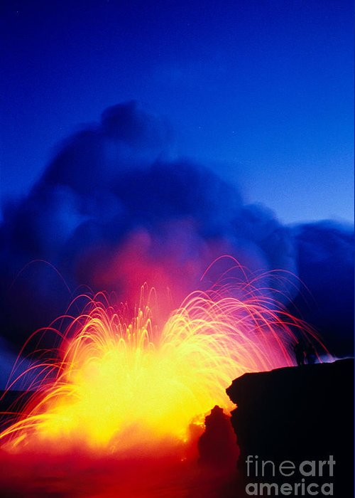 A'a Greeting Card featuring the photograph Lava Explodes by Greg Vaughn - Printscapes