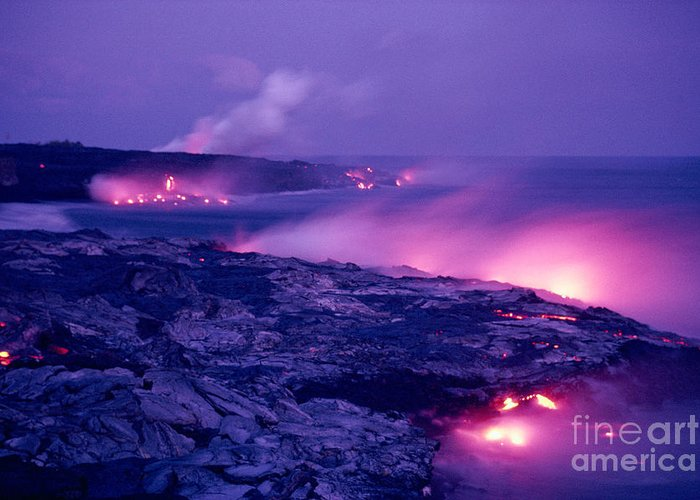 Amaze Greeting Card featuring the photograph Lava Flows To The Sea by Mary Van de Ven - Printscapes