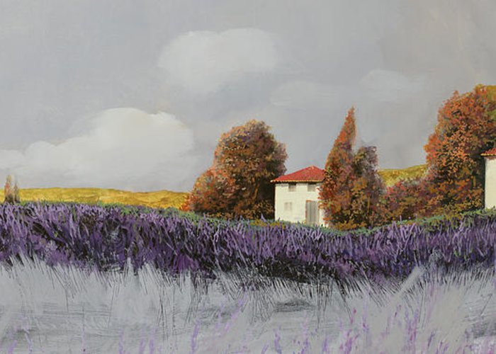 Lavender Greeting Card featuring the painting Lavanda Orizzontale by Guido Borelli