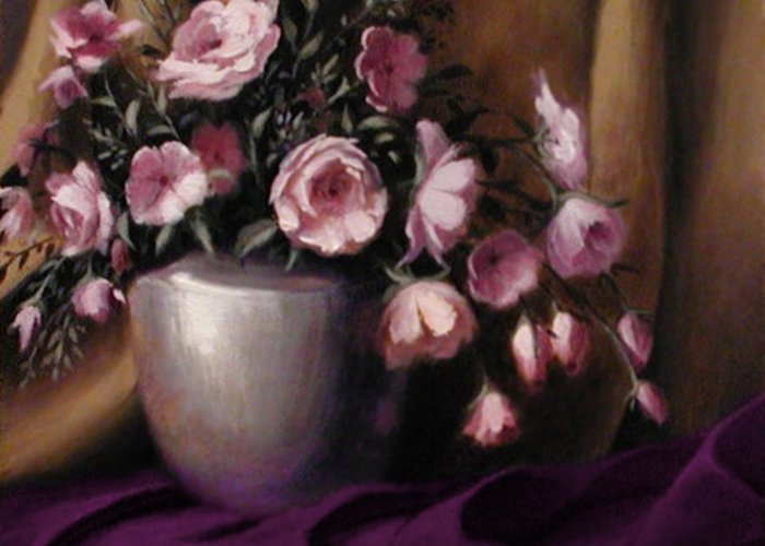 Flowers Greeting Card featuring the painting Lavander And Pink Flowers In Silver Vase by Stephen Lucas