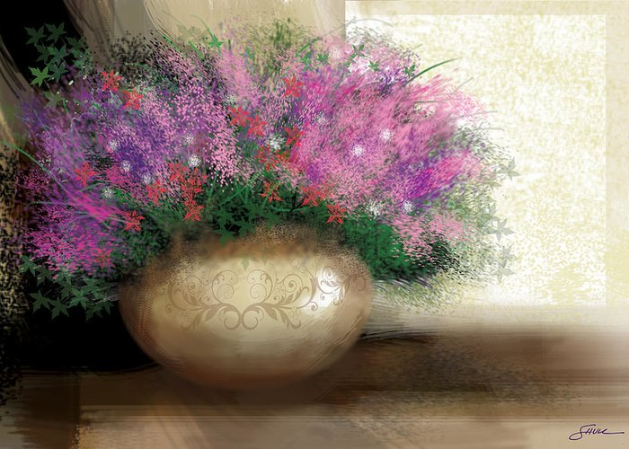 Flowers Greeting Card featuring the digital art Lavender Bouquet by Harold Shull