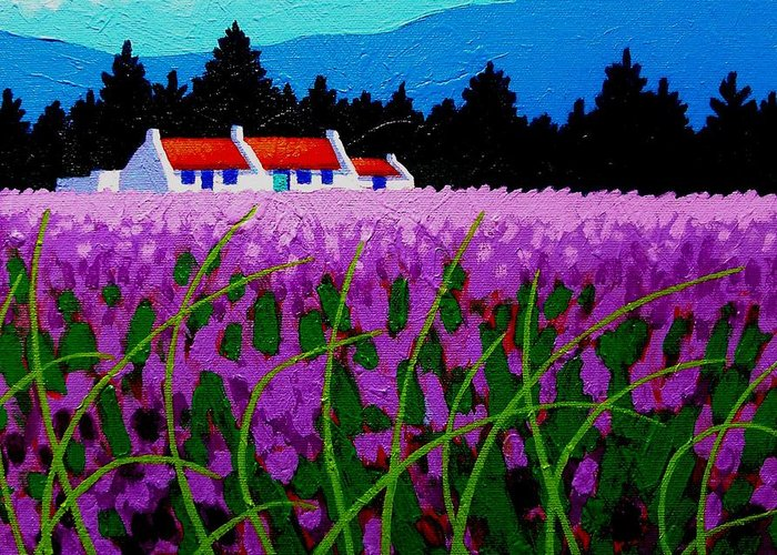 Lavender Greeting Card featuring the painting Lavender Field - County Wicklow - Ireland by John Nolan