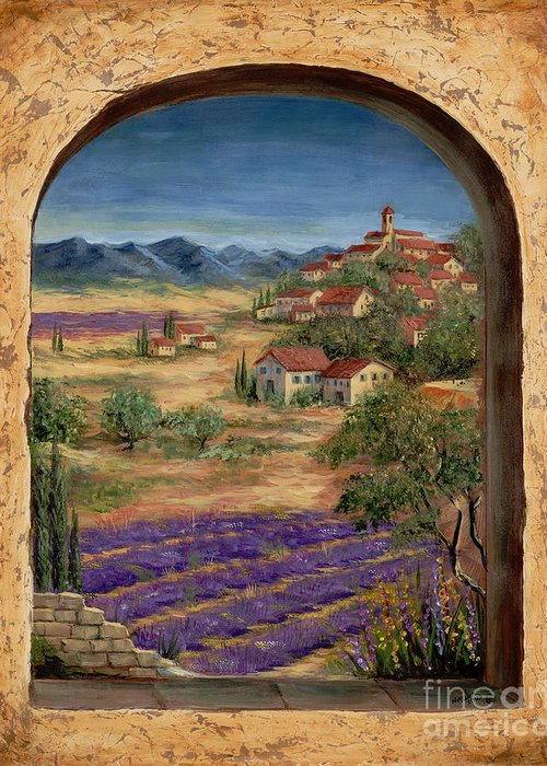 Europe Greeting Card featuring the painting Lavender Fields And Village Of Provence by Marilyn Dunlap