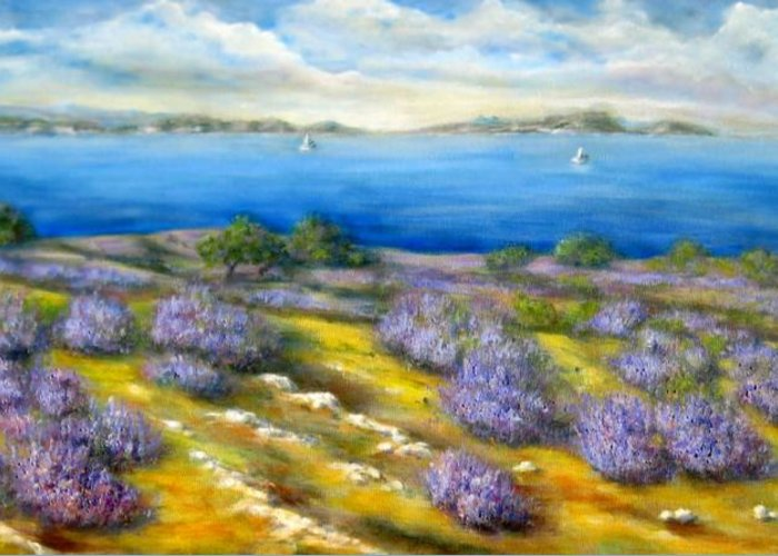 Landscape Greeting Card featuring the painting Lavender by Mirjana Gotovac