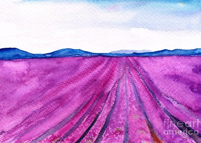 Lavender Field Greeting Card featuring the painting Lavender by Sweeping Girl