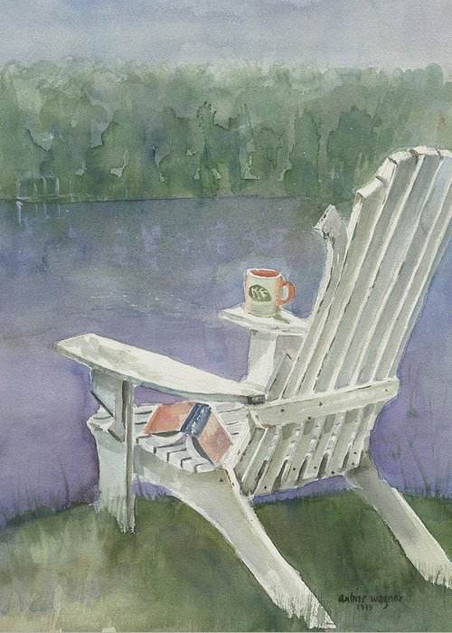 Chair Greeting Card featuring the painting Lawn Chair By The Lake by Arline Wagner
