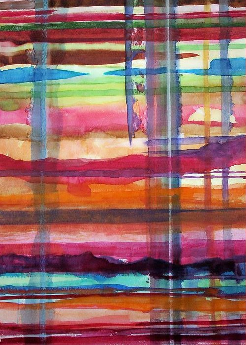 Abstract Greeting Card featuring the painting Layered by Suzanne Udell Levinger