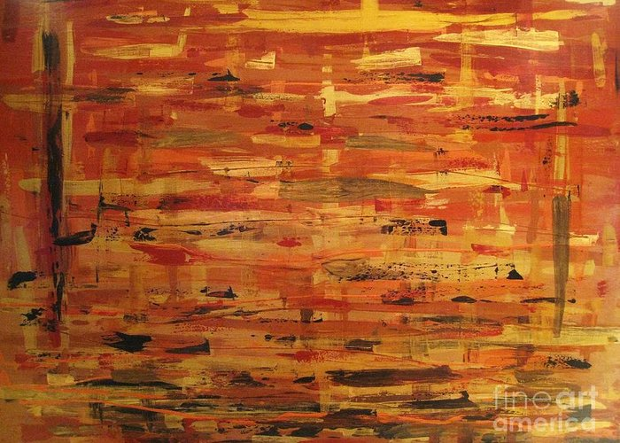 Abstract Art. Gold Greeting Card featuring the painting Layers Of Life by Sandra Lunde