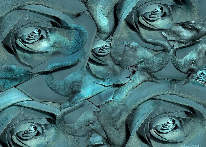 Roses Greeting Card featuring the digital art Layers by Sabine Stetson