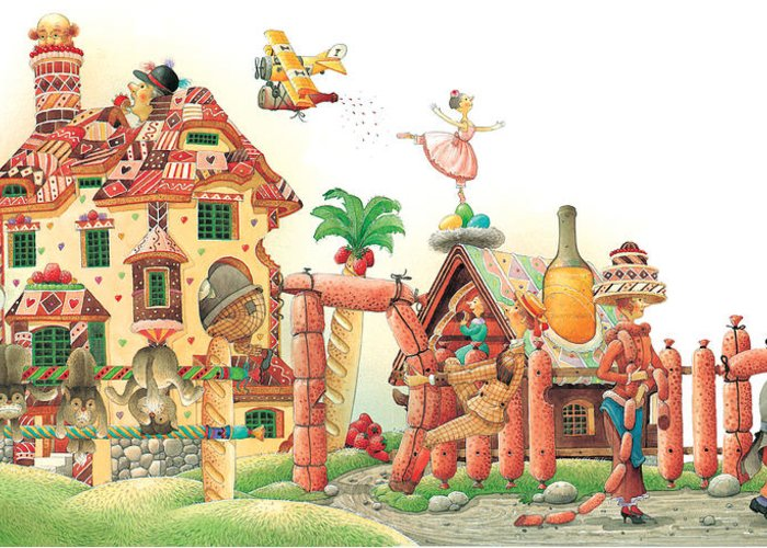 Food Lanscape Kitchen Greeting Card featuring the painting Lazinessland04 by Kestutis Kasparavicius