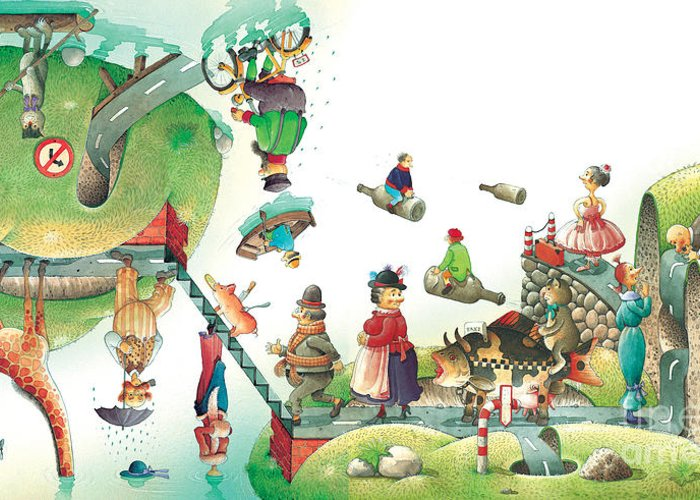 Travel Lanscape Green Greeting Card featuring the painting Lazinessland06 by Kestutis Kasparavicius