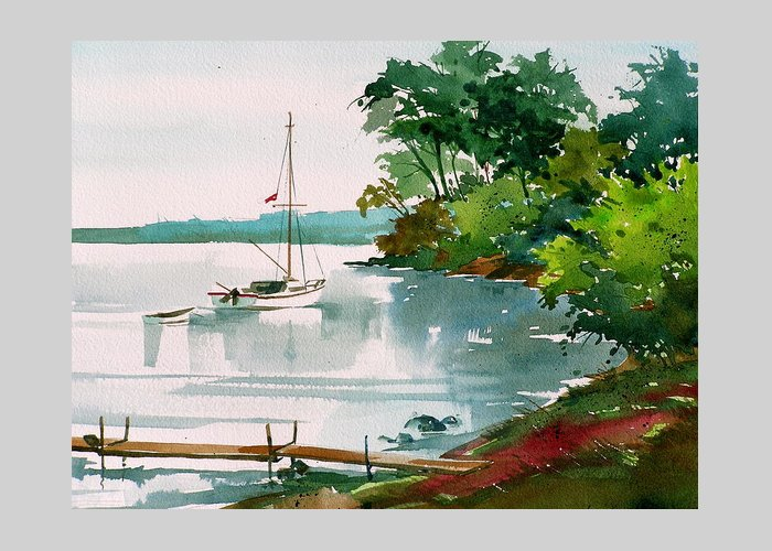 Anchored Sailboat Greeting Card featuring the painting Lazy Cove by Art Scholz