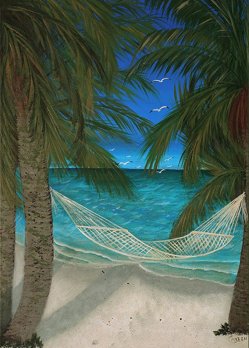 Hammock Greeting Card featuring the painting Lazy Days Of Summer by Darlene Green