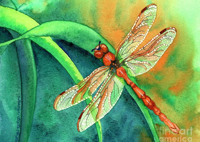 Dragonfly Greeting Card featuring the painting Lazy Days by Tracy L Teeter