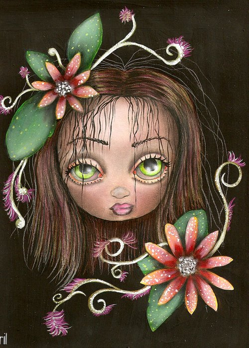 Abril Greeting Card featuring the painting Lazy Eye by Abril Andrade Griffith